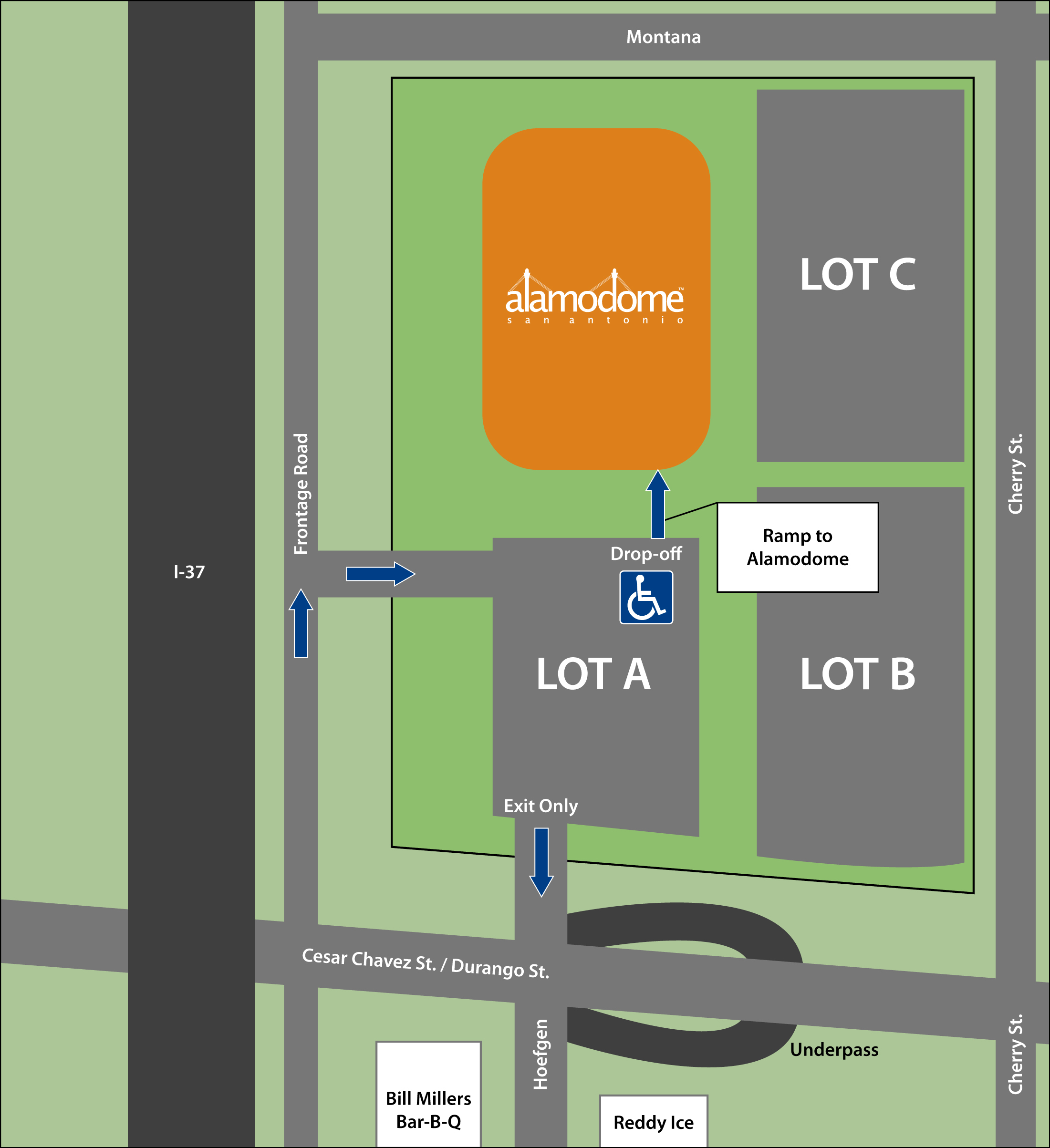 Alamodome parking map